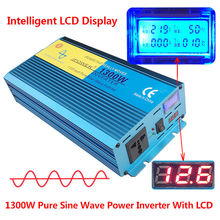 Digital Display 1300W 2600W Peak Pure Sine Wave Power Inverter DC 12V to AC 220V 230V 240V Converter Supply Solar Power