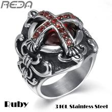 Sales Vintage Red Jewelry oth Cross Rings For Men Cool Vampire Dragon Ring Religious Stainless Steel Male Rings New Arrival(China)