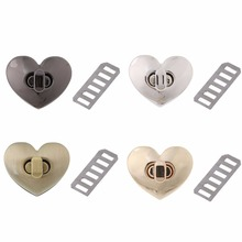 THINKTHENDO New Heart Shape Clasp Metal Hardware For DIY Handbag Bag Turn Lock Twist Lock Purse Clasps Locks