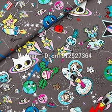 140cmx50cm Cotton  Fabric - Space travel - cats, spacecraft, stars  (323)