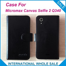 New Top Hot! Micromax Canvas Selfie 2 Q340 Case,6 Colors High Quality Flip Leather Exclusive Cover tracking(China)