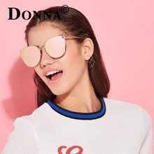 Donna Oversized Cat Eye Sunglasses Women Round Mirror Gold Rose Frame Flat Mirror Sun Woman Fashion HD Lens Glasses D09
