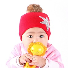 cheap promotion girl boy baby brand beanie hat children luxury winter hats cap custom rhinestone star design gorros skullies