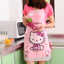 Cartoon Aprons Kitty Dora Bib Apron Cartoon Long Sleeve Cuff Waterproof Aprons Gowns Suits For Women Kitchen Apron(China)