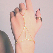 Gold Color finger ring hand chain harness slave women New Multi Chain Punk style Harness Finger Bangles For Women ns42
