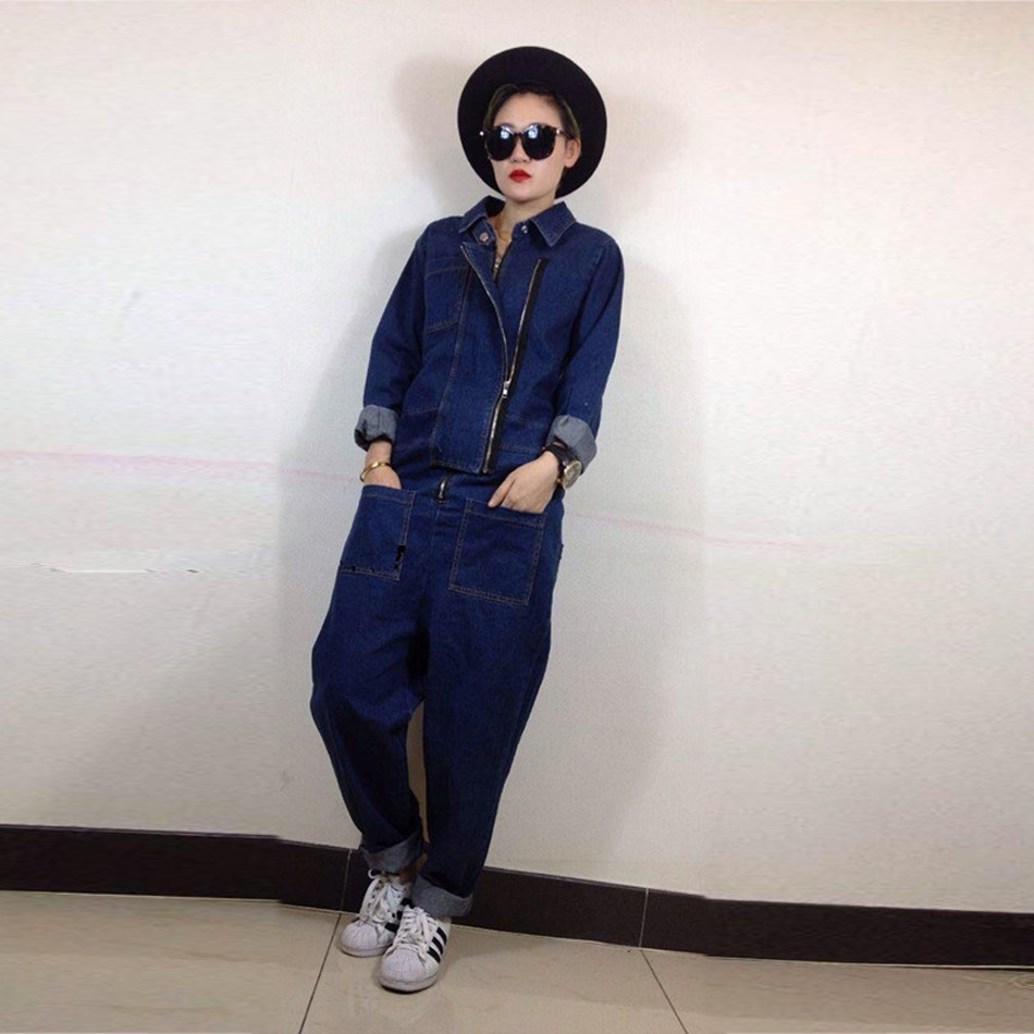 Luxury Good Quality New Fashion Women Zipper Jumpsuit Slim Fit Skinny Jeans Rompers Pocket Denim Jumpsuits Size Sexy girl casualÎäåæäà è àêñåññóàðû<br><br>