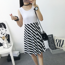 2017 spring summer women Dress Women knee-length sleeveless sexy Casual tunic dresses striped elegant fashion cotton white(China)