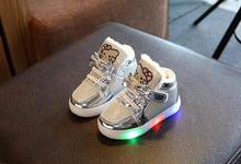 Kids Lights Shoes Girls Shoes Kids Fashion Warm Boots Children's Casual Princess Shoes Cartoon LED Sneakers Size 21-30(China)