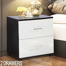 1pc Modern Bedside Cabinet Nightstands Shellhard High Gloss Night Table Bedroom Furniture Black & White