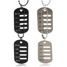 Fantastic 2 Dog Tags Chain Army Tactical Style Black Men Pendant Necklace