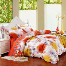 4Pcs Single/Twin/Full/Queen/King Size Bed Quilt/Duvet Cover Set Pillowcase Shams&Sheet Orange Yellow Dandelions Reversible Strip