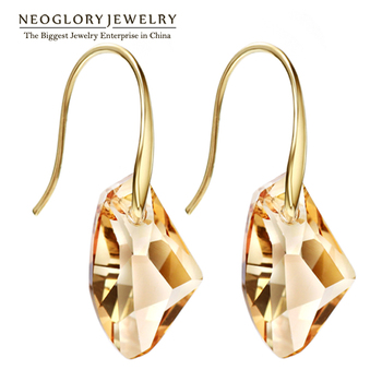 Neoglory Yellow Austrian Crystal Charm Dangle Drop Earrings for Women Bridal Fashion Gift Jewelry 2017 New Fashion Brand JS9