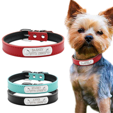 Leather Personalized Dog Collars Custom Cat Pet Name ID Collar Free Engraving For Small Medium Dogs(China)
