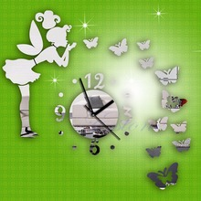 Hot Modern Butterfly Fairy Clock DIY 3D Art Mirror Wall Sticker Kids Room Bedroom Home Decor For Wall Decoration Stickers C42