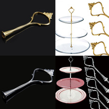 5 Set of 3 Tier Three Layers Cake Plate Stand Holder Crown Metal Rod V3NF