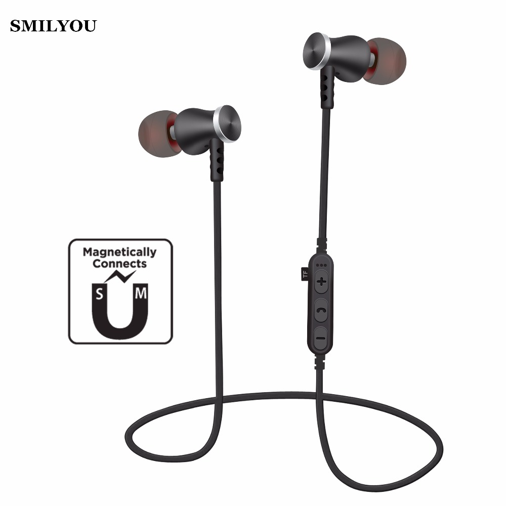 SMILYOU T5 Magnet Sport In-Ear Bluetooth Earphone Earpiece Handsfree Stereo Headset Wireless Earphones Mic Iphone 6 7 8