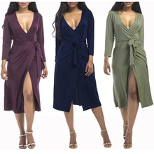 Buy 2017 Autumn Plus Size Women Sexy Long Dress Deep V-neck Ladies Bodycon Ruffled Belted Wrap Dress Long Sleeve Elegant Party New for $13.20 in AliExpress store