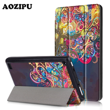 AOZIPU New Print Tablet Case for Amazon Kindle New fire 7 2017 Version,PU Leather Light Weight Smart Protective Stand Cover(China)