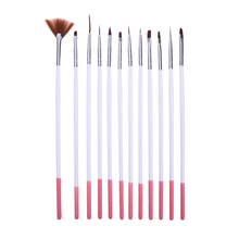 12pcs Nail Art Brush Pens Nail Polish Dotting Painting Drawing Pencil Brushes Set Wooden Handle UV Gel Nail Print Brushes Kit(China)