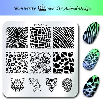 NACIDO BONITO Sello Plantillas de Impresión de Uñas 6*6 cm Square Nail Art Stamping Plantilla Animal Diseño Cráneo Placa de la imagen BP-X13