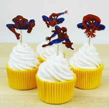 24Pcs/lot Spider Man Party cupcake toppers picks Birthday Spiderman Party Decoration Kids Supplies