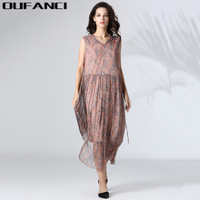 OUFANCI Brand 2017 Summer Women Dress Print Vintage V-Neck Sleeveless 100% Real Silk Loose Dresses Female Beach tunic dresses(China)