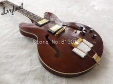 Electric guitar jazz 335 lvybest brown semi glossy finished ,like playing years, gold parts, no pickguard, free shipping!(China)