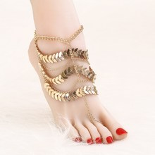 Personality Punk Gold Color Multi Layers Foot Anklets Tassels Design Summer Beach Chain Anklets Gold Ankle For Women(China)