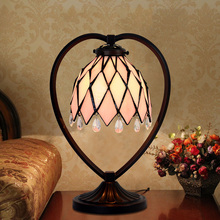 bedroom bedside lamp cafe restaurant decoration lamp light pink heart Table Lamps LO7189(China)