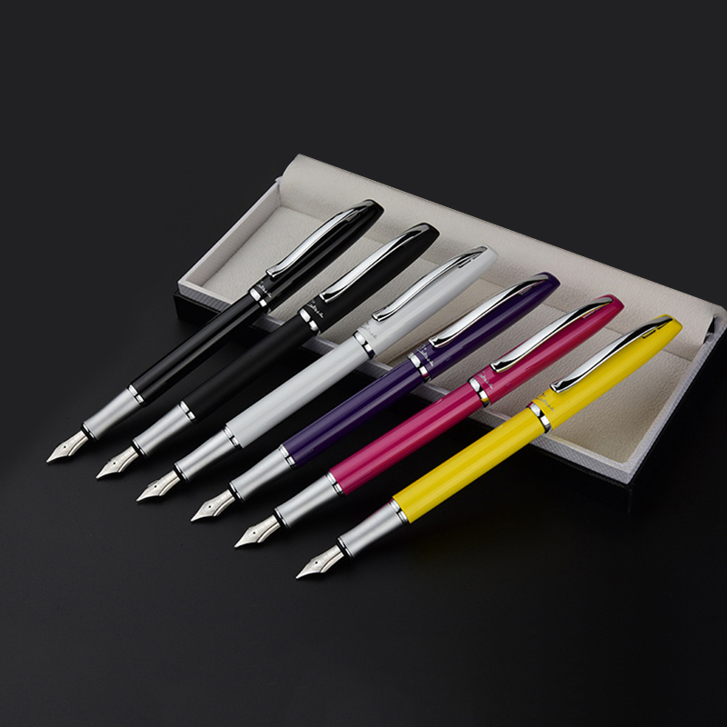 High-end Silver Clip Metal Fountain Pen Fine Nib 0.5mm Black Pink White Yellow Purple Christmas Gift Ink Pens with a Gift Box<br>