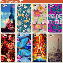 "For Elephone S7 case 14 styles beautiful flowers Soft Silicone tpu Cover Case For elephone s 7 5.5"" DIY Cell phone Case(China)"