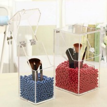 New Upgrade Version! 2017 Brush Cosmetic Organizer Clear Acrylic Makeup Organizer Clamshell Acrylic Brush Holder With Pearls