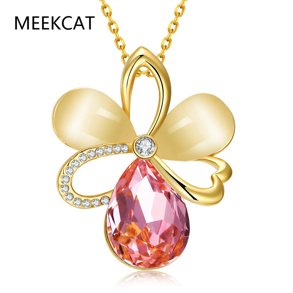 MEEKCAT Christmas Gift Elegant Ferris Rose Flower Pendant Necklace With Top Quality Pink Austrian Stellux Zirconia Colar de Ouro(China)