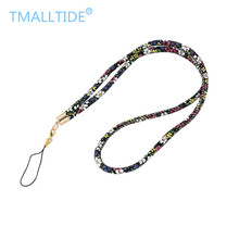 Tmalltide PU Leather Lanyards Mobile Phone Straps for ID Card Key USB Camera MP3 4 Colorful Printing of Floral for iphone for LG