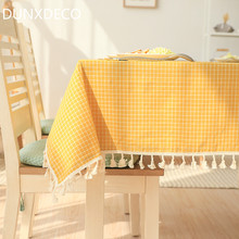 DUNXDECO French Country Style Nordic Check Yellow Green Linen Cotton Table Cloth Home Party Decorative Table Cover Photo Prop