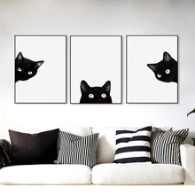 3 Piece Black Cats Head Modern Cute Animal Canvas A4 Print Poster Nordic Wall Art Picture Painting No Frame Kids Room Home Decor
