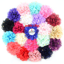 20pcs/lot total 32colors of 10CM Shiny Golden polka-dot Chiffon Flower with 5cm ribbon double prong hair clip