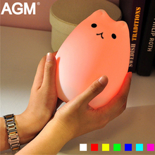 AGM Cat LED Cartoon Night Lamp Light Silicone Luminaria Touch Tap Control Nursery Nightlight For Baby Kids Reading Sleeping Gift