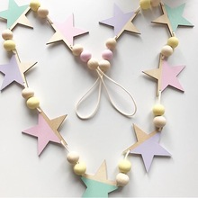 Nordic Style Star and Bead Wooden Pennant Flags Banner Garland Baby Shower/Outdoor Tent Decoration Children's Room Wall Decor(China)