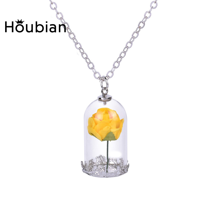 Wholesale 50pcs Charms Bottle Glass Dry Rose Flowers Necklace Pendants For Women Beauty and the Beast Silver Plated Jewelry Gift