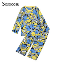 SOSOCOER Boys Pajamas Long Sleeve Cartoon Boy Pajamas Sleepwear New 2017 Autumn Winter Warm Kids Pyjamas For Boy Clothes Yellow