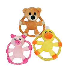 1Piece Gomaomi 16cm Animal Pattern Frisbee Flying Discs Pet Dog Toy Rope Ring