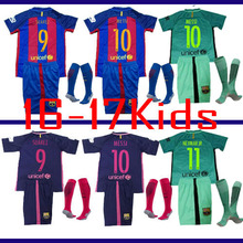6HH BARCELONAS Top quality Thai AAA Qualit KIDS Messis Soccer jersey Kit 2016 17 Home Away 3RD green men shirt Short-sleeves