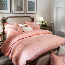 French Egyptian cotton 800TC satin embroidery lace quality bedding set luxury duvet cover flat sheet bed linen/quilt cover set