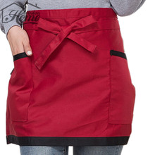 Short Waist Half Bust Apron Red Black Kitchen Home Furnishing Coffee Shop Waitress apron overalls Antifouling Wear Aprons DIY