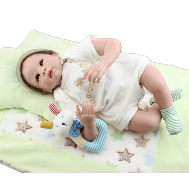UCanaan new 50-55cm Silicone Reborn Baby Doll Soft Touch Body Mouth with Magnet Pacifier Lifelike Boy Doll Best Gift Girl<br><br>Aliexpress