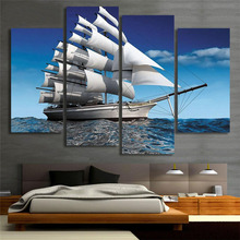 Modern Ocean Sailing Ship Canvas Painting Printed On Canvas Cuadros Abstractos 2017 Wall Pictures For Home Decoration(China)