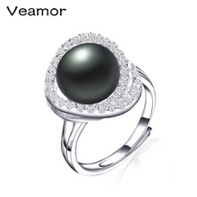 Veamor Brand New Fashion Jewelry 925 Silver Cross Rings For Women Female Party Adjustable Freshwater Pearl Ring 4 Types(China)