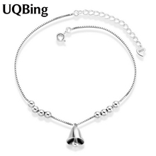 Free Shipping New Arrival 925 Sterling Silver Anklets 925 Silver Bell Anklet For Women Jewelry Girl Gift