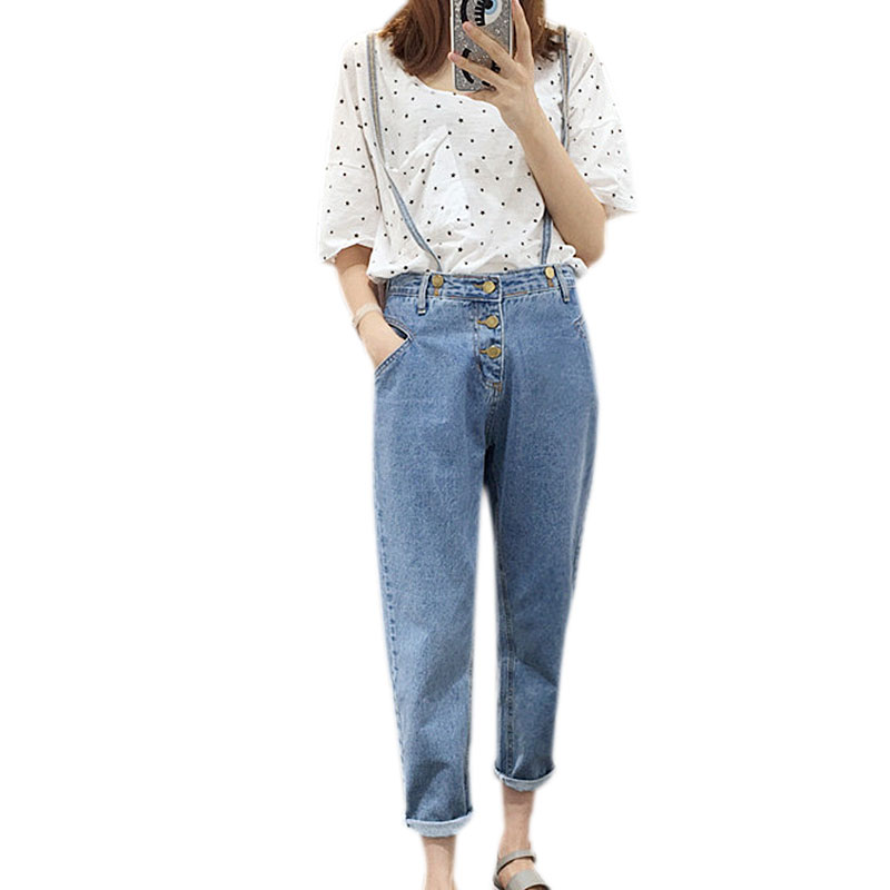 Korean New Fashion Blue High Waist Overalls Jeans Pant Women Autumn Winter Solid Loose Casual All-match 2017 Denim Trousers S-LОдежда и ак�е��уары<br><br><br>Aliexpress